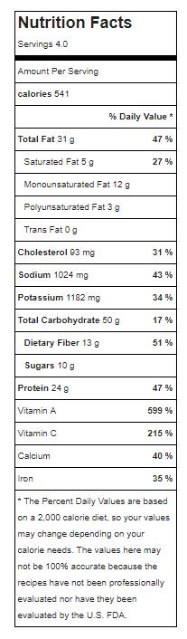 Soyrizo Hash Nutrition
